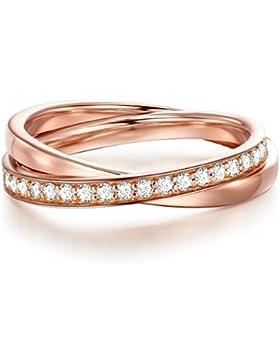 Glanzstücke München Damen-Silberring Sterling Silber rosévergoldet Zirkonia weiß - Wickelring roségold vergoldet...
