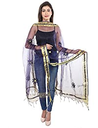 Fashion Store Tissue Mirror Work Party Wear Dupatta,chunni,stole,scarves(Length:99 Inch Navy Blue)