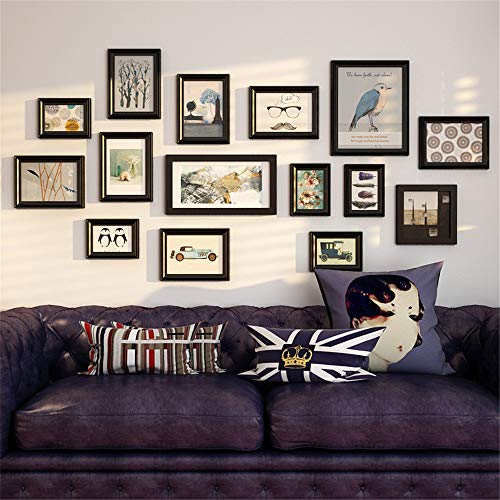 XIAHE Europäische große Mehrbild-Bilderrahmen Wand Set Schwarz Weiß Bilderrahmen Set 15 Rahmen Wohnzimmer Schlafzimmer Foto Collage Rahmen Echtglas Front Massivholz mit Bilderfassungen Wanddekoration