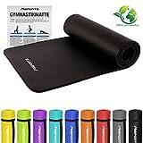 MSPORTS Gymnastikmatte Premium   inkl. Übungsposter   Hautfreundliche - Phthalatfreie Fitnessmatte - Schwarz - 190 x 60 x 1,5 cm-sehr weich-extra dick   Yogamatte