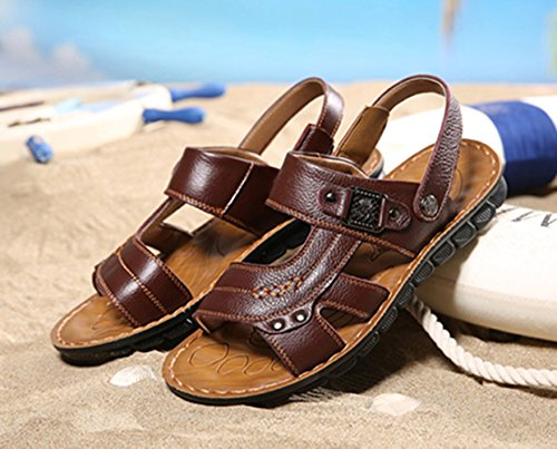 Icegrey Herren Geschlossene Strand Sandalen Leder Freizeit Hausschuhe Outdoor Sommer Pantolette Braun