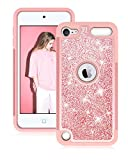 Dailylux Coque iPod Touch 5/6th,Coque iPod Touch 7 Housse Étui Glitter Créatif Coque Clear Shiny Design Bling Étincelle Case Briller Étui Protecteur TPU Bumper pour iPod Touch 5 Touch 6/7-Or Rose