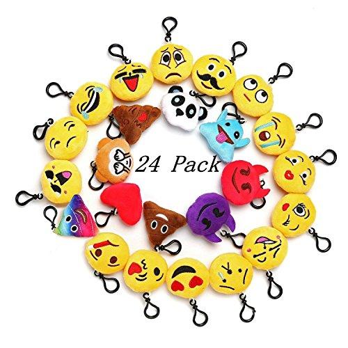 Pl Mini-anhänger (Kleine Emoji-Schlüsselanhänger, Plüsch, Gastgeschenke, 5cm, 24Stück)