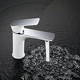 Homelody Weiß Badarmatur Chrom Wasserhahn Bad Armatur Mischbatterie Einhebelmischer Waschtischmischer Waschbeckenarmatur Waschbecken Armatur f. Bad