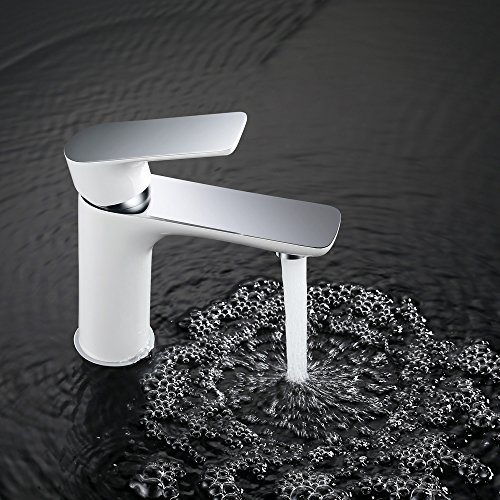 Homelody - Waschtisch-Einhebelmischer, ohne Ablaufgarnitur, Luftsprudler, Keramikkartusche, Weiß-Chrom