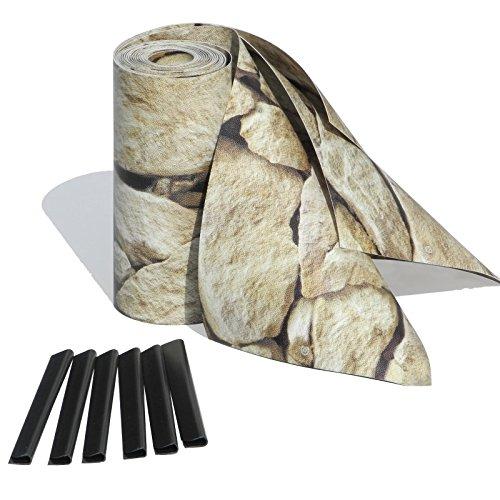 Sichtschutzstreifen mit Motiv / M-tec print ® / PVC / Sandstein Toscana ✔ für 9 Reihen im Zaunfeld ✔ inkl. 18 Klemmschienen ✔ kein Verbleichen ✔ kein Schrumpfen ✔