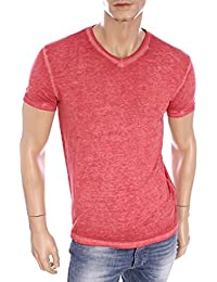 EA7 - Emporio Armani - T-Shirt rouge vintage col V homme 277030 6P602