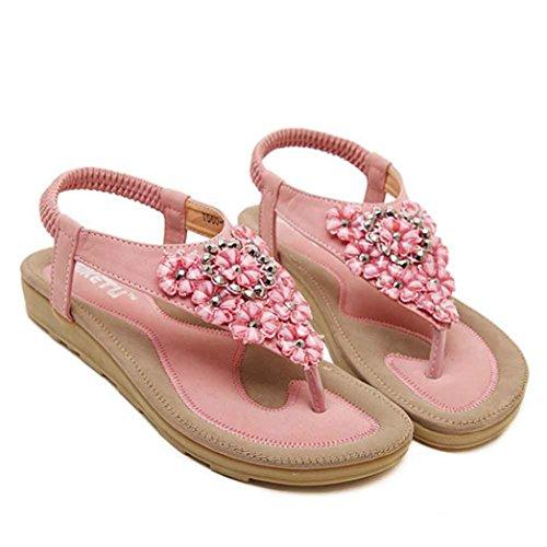 Amlaiworld Moda donna dolce perline appartamenti clip toe sandali rosa