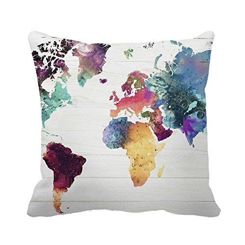okoukiu lona de algodón pintura al óleo tierra mapa cuadrado manta decorativa Funda de almohada Funda de cojín