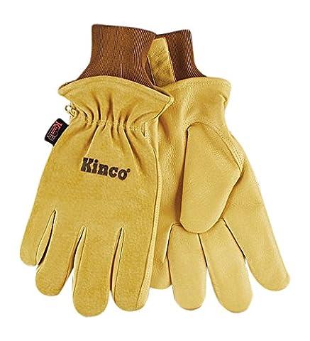 KINCO 94HK-L Men's Lined Grain Suede Pigskin Gloves, Heat Keep Lining, Large, Golden by KINCO INTERNATIONAL