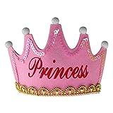 Nicky Rosa Princess Krone mit LED Geburtstag Prinz Prinzessin Haarreif Kopfschmuck Leuchtend Geburtstagsfeier Party Königskrone für Kinder Erwachsene