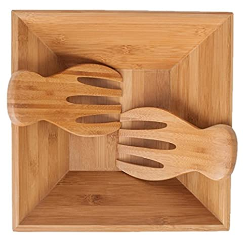 SM Bowls Bamboo Salad Bowl w/ Serving Hands: Sustainable set includes large square bowl and matching salad servers