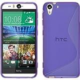 PhoneNatic Case kompatibel mit HTC Desire Eye - lila Silikon Hülle S-Style + 2 Schutzfolien