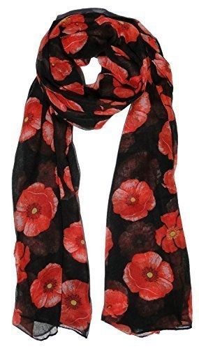 Beautiful Poppy Scarf in Black Ladies Fashion Spot Scarves With Hanging Heart Gift