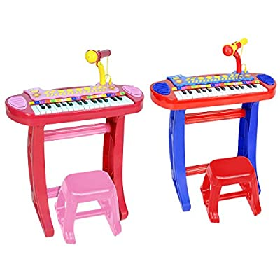 Charles Bentley Bontempi Electronic Organ Keyboard With Microphone And Stool With Record And Playback Function 22 Demo Songs Age 3+ Years Available in Pink/Blue