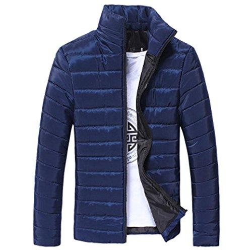 Hommes Coton Stand Zipper Chaud Hiver Veste Manteau Épais Tefamore (Bleu, M)