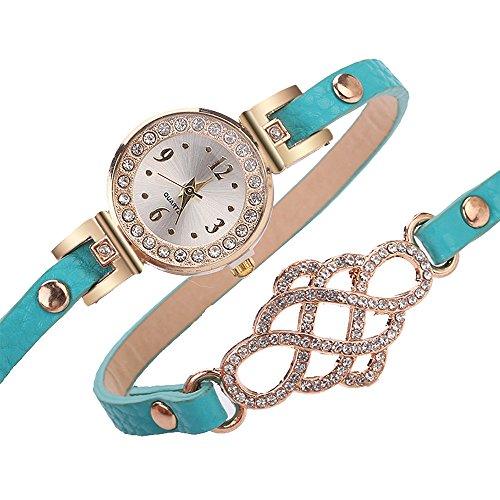 Damen Analog Quarz Armbanduhr Kalender Edelstahl Uhr Armbanduhr Milanaise Himmelblau (Womens-business-watch-designer)