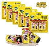 LATERN 24 Rouleaux de Ruban Autocollant Anti Mouches Piège Attrape de Papier Collant Stickers Suspendus Sûr Non Toxique pour Tuer Mouche Moustiques Insectes Volants Protéger Votre Famille en Été