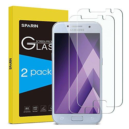 galaxy a3 glas [2 Stücke] SPARIN Samsung Galaxy A3 2017 Schutzfolie, Displayschutzfolie Panzerglas mit [Anti-Kratz] [Blasenfrei] [2.5D Rand] [HD Klar]