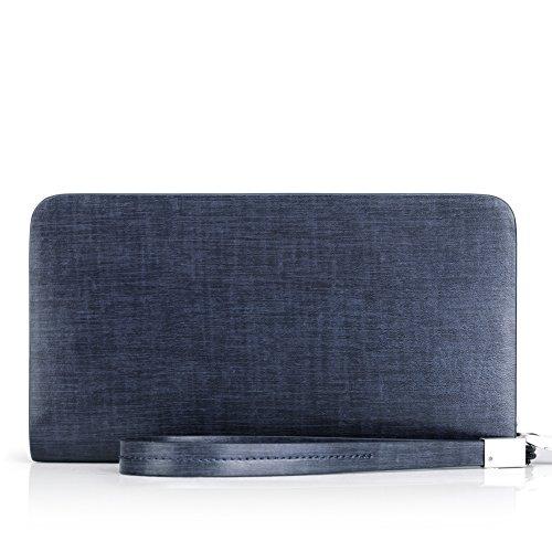 BVP Portefeuille - En cuir véritable - Élégant et pratique - Mixte - Homme - Femme - Bleu、 Bleu