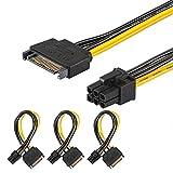 [3er Packung] J&D SATA 15 Pin auf 6 Pin PCI Express (PCIe)-Adapter für Videografikkarte-20cm