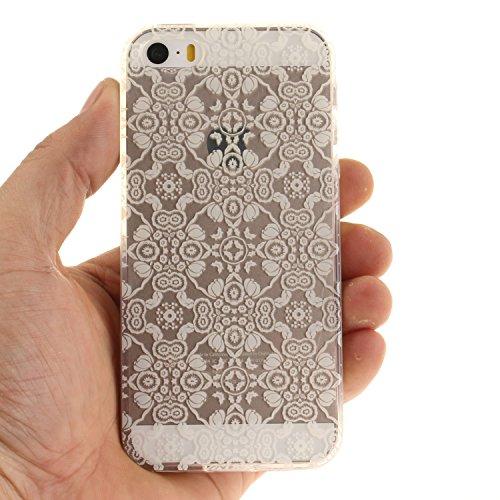 Apple iPhone iPhone 5s 5G SE hülle,MCHSHOP Ultra Slim Skin Gel TPU hülle weiche Silicone Silikon Schutzhülle Case für Apple iPhone iPhone 5s 5G SE - 1 Kostenlose Stylus (Lila Blume) Weißer Spitze