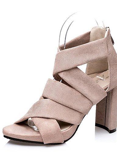 WSS 2016 Chaussures Femme-Décontracté-Noir / Vert / Gris / Amande-Gros Talon-Talons-Talons-Laine synthétique gray-us8 / eu39 / uk6 / cn39