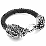 AnaZoz Acier Inoxydable Homme Bracelet Crâne Bangle Indian Americans Gothique Native Cuir