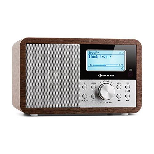 auna Worldwide Mini • Radio Internet • Wi-Fi • USB • MP3 • Entrada AUX • Dab/Dab+/ FM • Función RDS • Alarma Dual • Snooze • Temporizador • Diseño Retro • Pantalla LCD con Hora y Fecha • Nogal