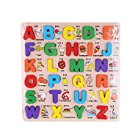 لعبة لوح خشبي احاجي صور مقطوعة على لتعلم الحروف الانجليزية للاولاد العاب تعليمية