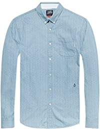 Scotch & Soda Ams Blauw Allover Printed Button Down Shirt, Chemise Casual Homme