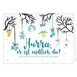 Große Design Glückwunsch-Karte XXL (A4) zur Geburt, Motiv: Hurra, er ist endlich da - für Junge blau/mit Umschlag/Edle Klappkarte/Maxi Gruß-Karte/Baby geboren/Gratulation Eltern