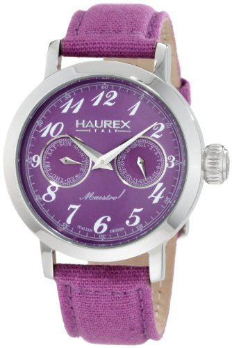 Haurex Italy Ladies Watch 6A343DP1 Maestro Rainbow with Purple Dial and Purple Fabric Strap
