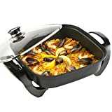 VonShef Square Multi Cooker | Electric Frying Pan with Glass Lid, Non-Stick Surface