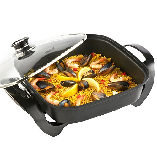 VonShef Square Multi Cooker | Electric Frying Pan with Glass Lid, Non-Stick Surface and Cool Touch Handles | 1500W