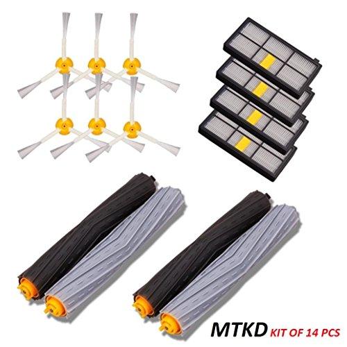 MTKD Kit Ersatzteile für iRobot Roomba Serie 800 und 900 - 14 Teile Zubehör-Kit (Bürsten seitlichen Cerda, Filter, Bürste) für Staubsauger Roboter.