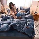 Huichao Baumwoll-Quilt Decken Vier Sätze von Herbst-und Winterwarm Kristall Samt Betten einfache solide Farbkontrastfarbe Mosaik nordischen Stil,Blue