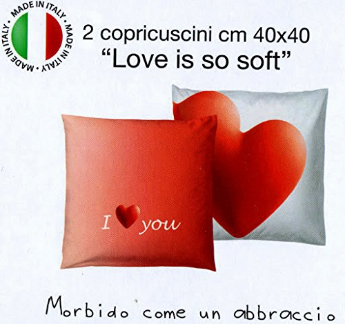 Lot 2 taies copricuscni Love Is So Soft bassetti Rouge 40 x 40 cm