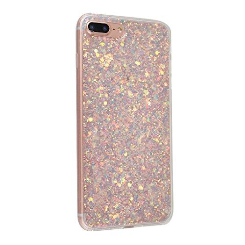 iPhone 7 Plus Hülle Glitter mit Strass Diamanten, iPhone 7 Plus Hülle Glitzer, iPhone 7 Plus Back Case, iPhone 7 Plus Bumper, Moon mood® Kristall Sparkle Schutzhülle für Apple iPhone 7 Plus 5.5 Zoll,  A Lila