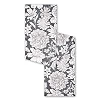 "Town & Country Living Farmhouse Vintage Floral Charcoal Table Runner, 100% Woven Cotton, Spring Table Runner Machine Washable 14""x72"""