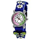 Pelex London Kinder-Uhr Mädchen-Uhr für Kinder Silikon-Kautschuk Armband-Uhr Uhr mit 3d Schmetterling Blumen Motiv Blau Lila Grün