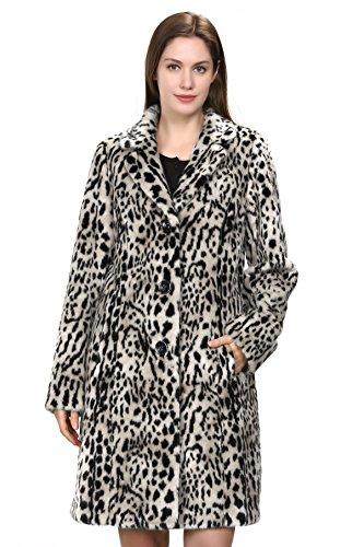 Adelaqueen Abrigo de Piel Sintética con Estampado Vintage de Leopardo  Chaqueta Invernal Para Mujer b278cba0ef00