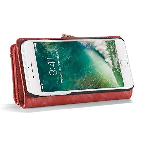 Etui und Geldbörse für Apple iPhone 7 Plus 5.5 Zoll - 2in1 Geldbeutel Portmonee Case Tasche Wallet Schutzhülle Rot