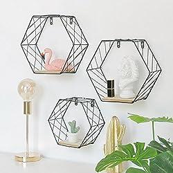 wangwtry Tenture murale panier étagères flottantes fil de fer hexagonale grille support mural pour les plantes affichent magasin livre magazine décoration bureau à domicile