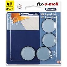 fix-o-moll 3566481 - Base deslizante para muebles (teflón, 30 mm, 4 unidades, autoadhesivo), color gris