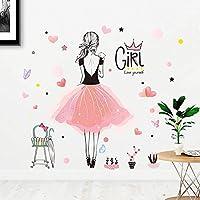 BIGBIGWORLD Creative Dancing Girl Wall Sticker Pink Ballet Girl Ballerina Wall Decals for Bedroom Living Room Girls Room Nursery Dance Room Decorations