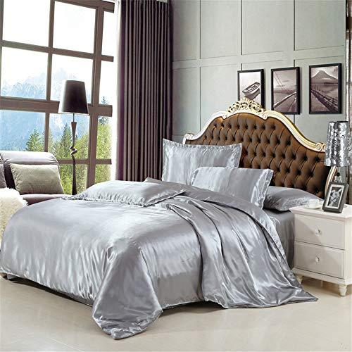 YUNSW Bettwäsche-Set Silk Queen-Size-Satin Bettwäsche Solid Color Silky Bed Ensemble 200x230cm -