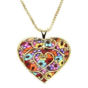 """Gold Plated Sterling Silver Heart Pendant Fleur de Lis Necklace Handmade Multi-Coloured Polymer Clay Jewellery, 16.5"""" Gold Filled Chain"""