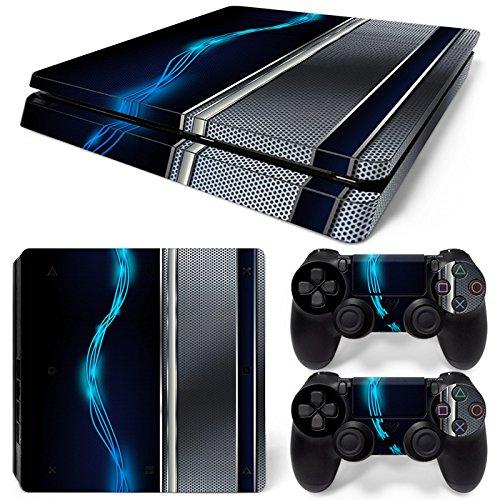 46 North Design Ps4 Slim Playstation 4 Slim Pegatinas De La Consola Blue Silver Metal + 2 Pegatinas Del Controlador 51f3zbFBW3L