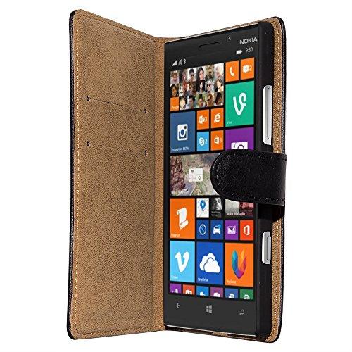 Slabo Flip Case Cover in Bookstyle für Nokia Lumia 930 - ECHT LEDER - schwarz | black